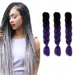 Extension cheveux Mode dégradé de couleur individuelle Braid Perruques Chemical Fiber Big Tresses, Longueur: 60 cm noir + vio...