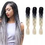 Extension cheveux Mode dégradé de couleur individuelle Braid Perruques Chemical Fiber Big Tresses, Longueur: 60 cm Noir + Bei...