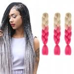 Extension cheveux Mode dégradé de couleur individuelle Braid Perruques Chemical Fiber Big Tresses, Longueur: 60 cm Rose Beige...