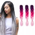 Extension cheveux Couleur Mode dégradé individuelle Braid Perruques Chemical Fiber Big Tresses, Longueur: 60 cm rose pourpre ...