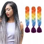 Extension cheveux Mode dégradé de couleur individuelle Braid Perruques Chemical Fiber Big Tresses, Longueur: 60 cm Orange + J...