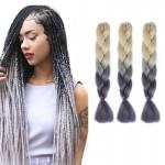 Extension cheveux Mode dégradé de couleur individuelle Braid Perruques Chemical Fiber Big Tresses, Longueur: 60 cm Beige + Gr...