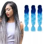 Extension cheveux Couleur Mode dégradé individuelle Braid Perruques Chemical Fiber Big Tresses, Longueur: 60 cm bleu marine +...
