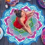 Serviette de plage Imprimé coloré Microfibre Tassel Lotus d'été bain sable Châle Foulard, Taille: 150 x cm bleu + Magenta - ...