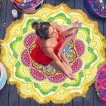 Serviette de plage Imprimé coloré Microfibre Tassel Lotus d'été bain sable Châle Foulard, Taille: 150 x cm jaune et vert - w...