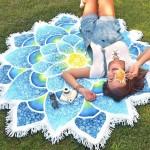 Serviette de plage Polygon magnifique Tassel Lotus d'été bain sable Châle Foulard Yoga Mat, Taille: 150 x cm Bleu - wewoo.fr