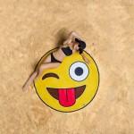 Serviette de plage Sourire Motif Visage Imprimé été bain sable Châle Foulard, Taille: 150 x cm - wewoo.fr