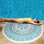 Serviette de plage bain été Microfibre ronde sable Châle Foulard, Taille: 150 x cm N2922 - wewoo.fr