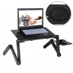 Support d'ordinateur portable 360 ??degrés réglable Bureau en alliage d'aluminium pliable Stand avec Refroidir Ventilateurs e...