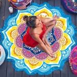 Serviette de plage Imprimé coloré Microfibre Tassel Lotus d'été bain sable Châle Foulard, Taille: 150 x cm bleu + jaune - we...