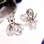Boucles d'oreilles Mode Style Glow Crystal Firefly tempérament longue oreille argent - wewoo.fr