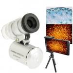 Microscope iPhone Loupe de téléphone portable numérique universel 60X avec trépied / agrafe réglable et lumière LED la galaxi...