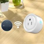 10A forme ronde WiFi mini-fiche APP Télécommande de synchronisation intelligente Works Socket avec Alexa, 100-240V, Plug-US ...