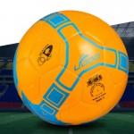Ballon 19cm cuir PU couture portable match de football orange - wewoo.fr