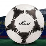 Ballon 19cm cuir PU couture portable match de football noir + blanc - wewoo.fr