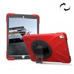 Coque rigide iPad Pro 10.5 pouces rotation de 360 ??degrés PC + Silicone étui protection avec support et sangle main rouge -...