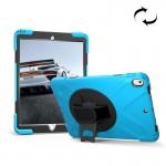 Coque rigide iPad Pro 10.5 pouces rotation de 360 ??degrés PC + Silicone étui protection avec support et sangle main bleu béb...