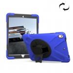 Coque rigide iPad Pro 10.5 pouces rotation de 360 ??degrés PC + Silicone étui protection avec support et sangle main bleu fon...
