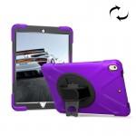 Coque rigide iPad Pro 10.5 pouces rotation 360 degrés PC + Silicone étui de protection avec support et sangle main violet - ...