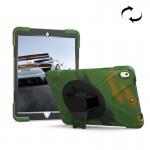 Coque rigide iPad Pro 10.5 pouces rotation 360 degrés PC + Silicone étui de protection avec support et sangle main vert camou...