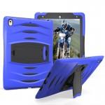 Coque rigide iPad Pro 10.5 pouces Wave Texture Series PC + Silicone étui de protection avec support bleu foncé - wewoo.fr
