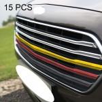 Décoration de Calandre 15 PCS voiture avant Grille en plastique Bande Grill Inserts Cover Strip Car Styling Accessoires Volks...
