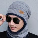 Bonnet tricoté Mode d'hiver unisexe Town Wall Costume écharpe, tricot épais et chaud en peluche Chapeau Gris - wewoo.fr