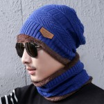 Bonnet tricoté Mode d'hiver unisexe Town Wall Costume écharpe, tricot épais et chaud en peluche Chapeau bleu - wewoo.fr