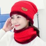 Bonnet tricoté Mode d'hiver unisexe Town Wall Costume écharpe, épais et chaud en peluche maille rouge - wewoo.fr