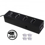 Hub USB 2.0 High Speed 4 ports avec anti-poussière Cup & Switch Plug and Play Noir - wewoo.fr