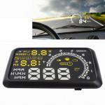 Affichage tête haute W02 5,5 pouces voiture OBDII HUD consommation de carburant Système d'alerte du véhicule monté sur la jus...